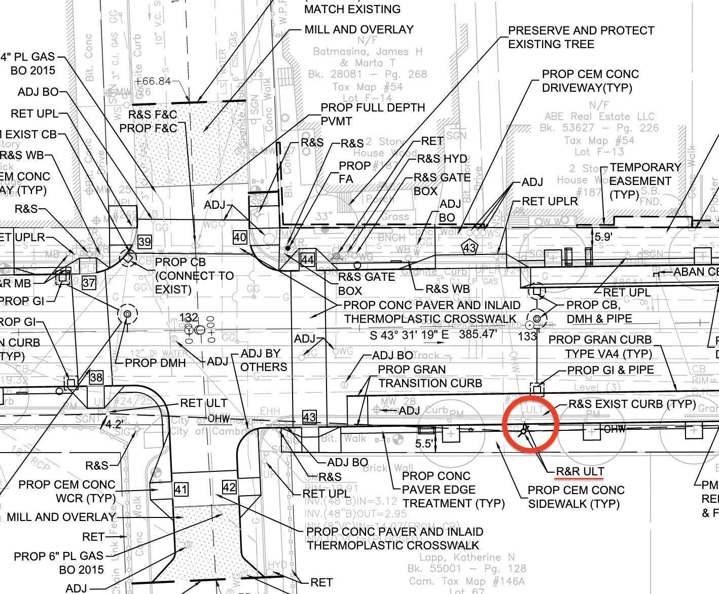 """A detail from construction plans posted on the City of Somerville website highlights the former location (in gray) and planned location (in black) for an Eversource utility pole that blocked a newly-built bike lane on Beacon Street earlier this summer (""""R&R ULT"""" is an abbreviation for """"relocate and reset utility pole"""")."""
