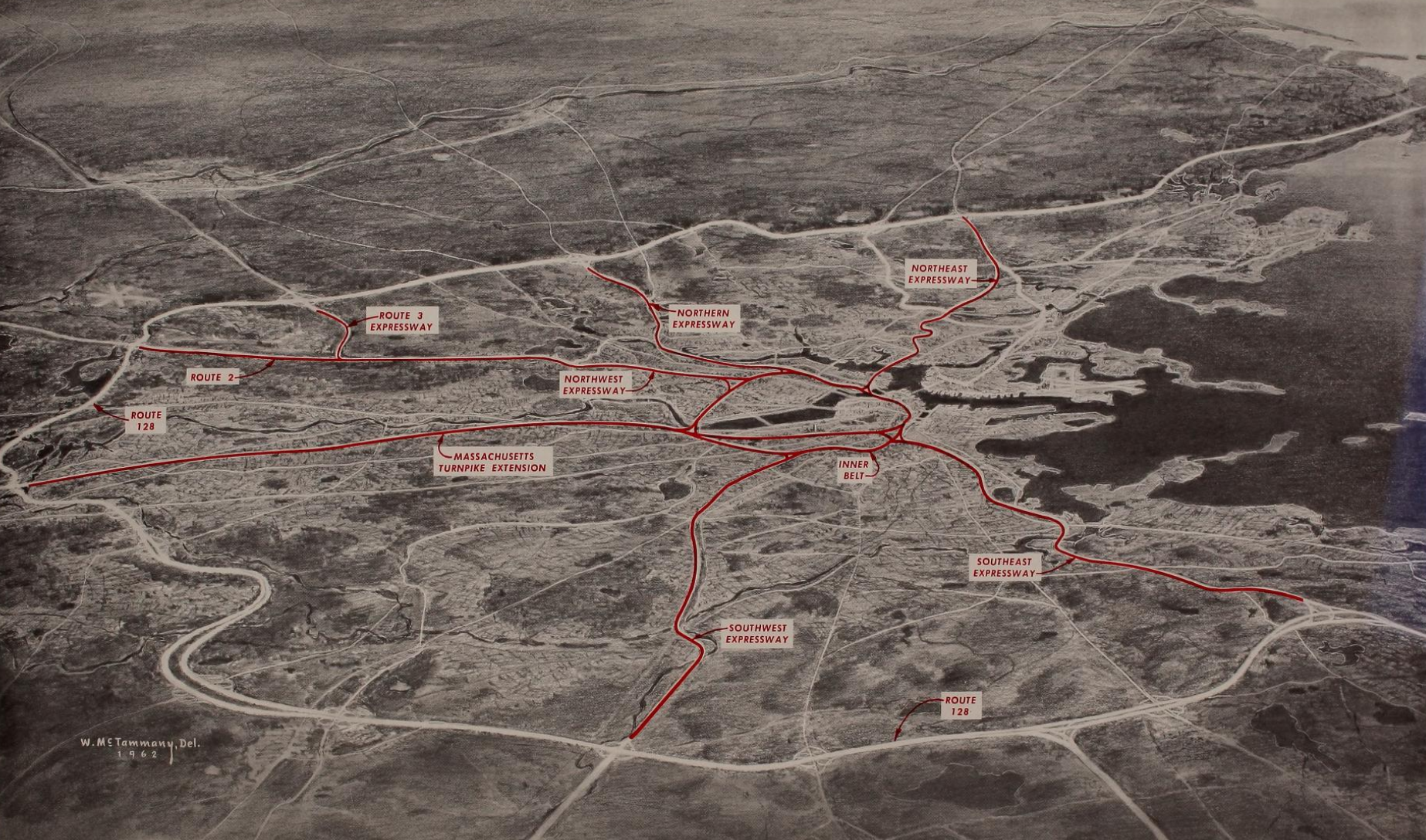 """An aerial map of interstate highways proposed in the 1962 Massachusetts """"Inner Belt and Expressway System"""" plan. Courtesy of the Boston Public Library."""