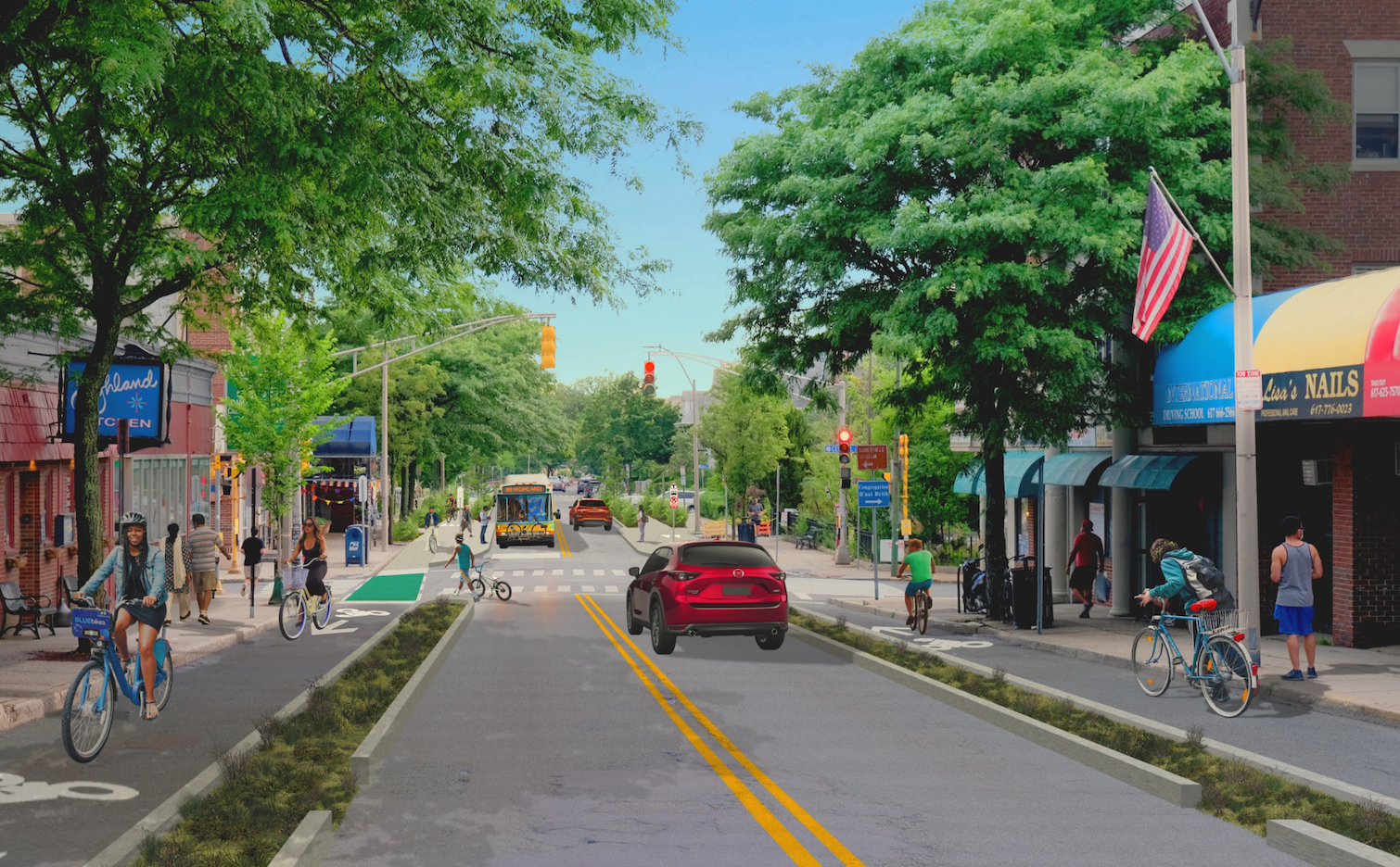 Reimagined design for Highland Avenue with protected bike lanes