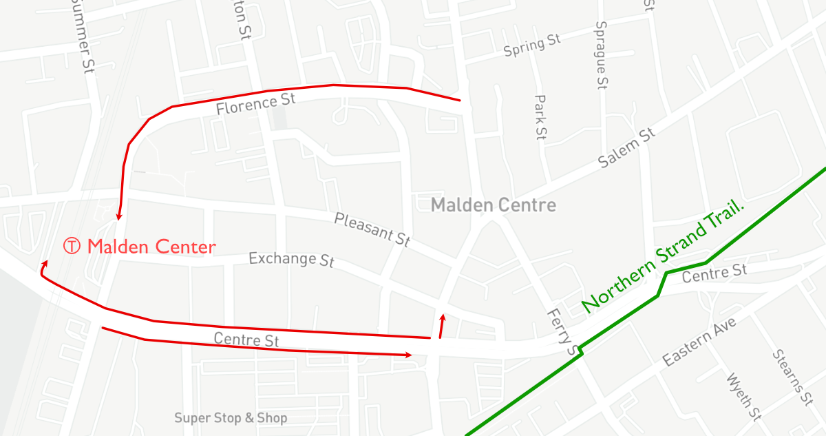 A map of downtown Malden's future bus lane network,highlighted in red. An existing inbound bus lane on Florence Street was installed late in 2020, and new dedicated bus lanes on both sides of Centre Street could be installed later this year, along with new bike lanes to connect to the Northern Strand Trail.